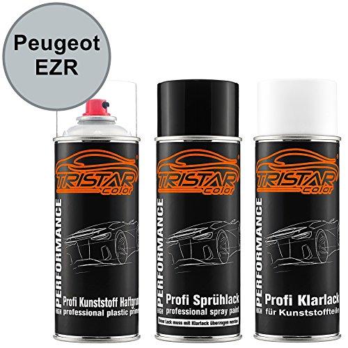 Preisvergleich Produktbild Autolack Spraydosen Set für Kunststoff Stoßstange Peugeot EZR Gris Aluminium Metallic / Chronos Silber Metallic Haftgrund Basislack Klarlack mit Weichmacher Sprühdose