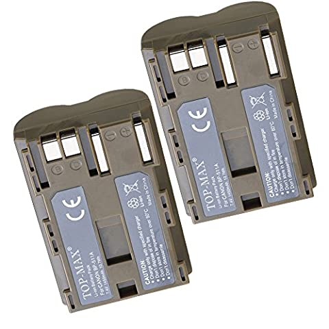 TOP-MAX® BP-511A BP-511 Battery -TWO PACK Canon BP-511A Canon EOS 5D, 50D,300D Digital SLR Cameras, Canon Powershot G5,G2,G3,G6,G1 Point & Shoot Digital Cameras,Canon Camcorders MV30,MV300,MV400,MV430,MV450,also for BG-E2N Battery Grip,Canon Battery Charger CB-5C
