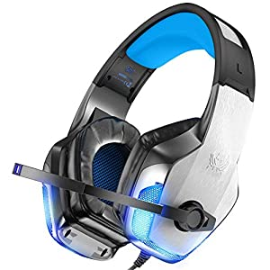 Nasharia Gaming Headset für PS4 Xbox One PC PSP, 3D Surround Sound G5300 Gaming Kopfhörer mit Aluminiumgehäuse, Mikrofon, LED Light Bass Surround für Computer Laptop Mac Nintendo Switch Spiele