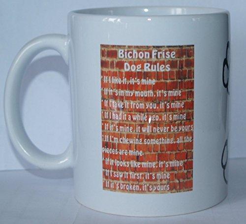 Novelty Dog Bichon Frisé Rules'Rasse Printed Tee, Kaffeebecher-Ideal als Geschenk -