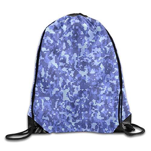 GONIESA Fashion Unisex Gym Bag Drawstring Backpack Tote Bags Royal Blue Digital Camo Sports Backpack -