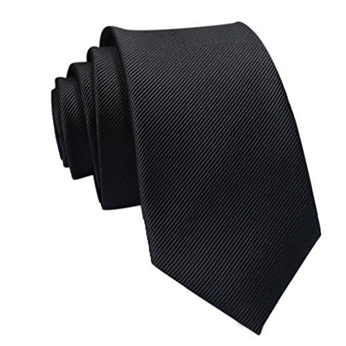 Coolster Herren Solid Krawatte Business Suit Slim Krawatten Casual Hochzeit Krawatten (Fein gestreift A)