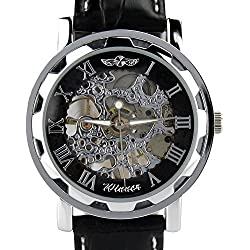 Kshade Black Mechanical wristwatch - Leather Band - Luxury Design with Hand Wind-up Mechanical Movement Men's Watch + Free Soft Pouch Case
