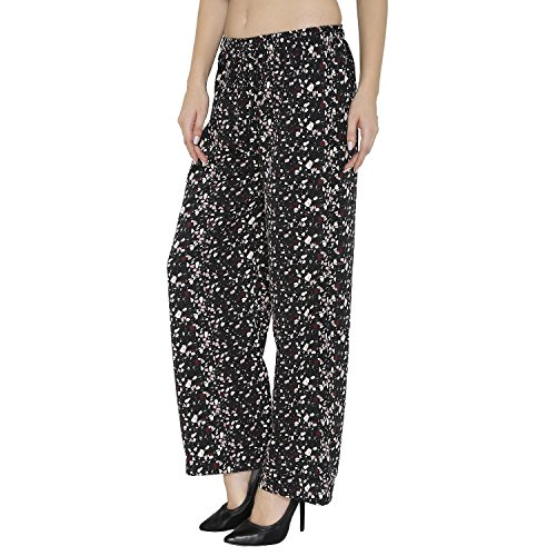 THE BEACH COMPANY PALAZZO PANTS (Black Marble Print, Medium)