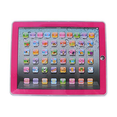 GDRAVEN Baby Tablet Lernspielzeug, Englisch Touch Screen Pad Computer Laptop für Kleinkind Kinder Geschenke Englisch Lernen, Lernspaß Laptop Blau/Rosa (Rosa) Laptop-batterie Pad