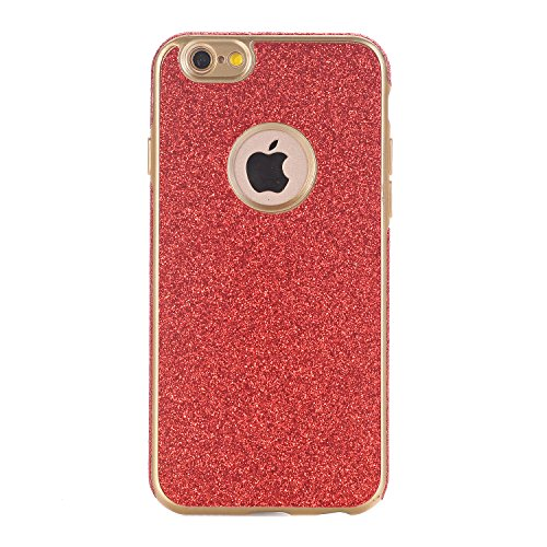iPhone 6 / 6S Hülle, WindTeco Weich TPU Silikon Glitzer Schutzhülle Bling Handyhülle Protective Case Cover für Apple iPhone 6 / 6S (4,7 Zoll), Rot