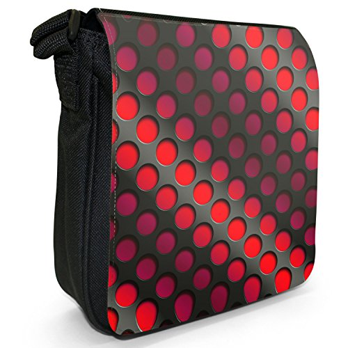 Abstract 3D-Wave-Piccola borsa a tracolla in tela, colore: nero, taglia: S Red Abstract 3D Wave