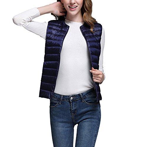 Femme Doudoune Sans Manche Gilet Ultra Légère Compressible Veste Manteau Hiver Blouson Bleu-Marine