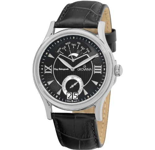 GROVANA 1715.1537 Men's Quartz Swiss Watch with Black Dial Analogue Display and Black Leather Strap
