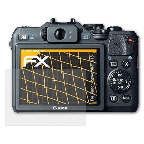 atFoliX Panzerfolie kompatibel mit Canon PowerShot G15 Schutzfolie, entspiegelnde und stoßdämpfende FX Folie (3X) (G15 Kamera Canon)
