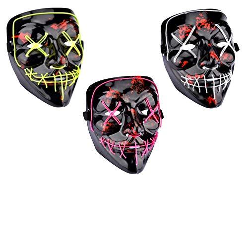 Party Hölle Und Himmel Kostüm - TZJ Halloween-Leuchtmaske, Blut, Horror-Thriller, LED, Party-Maske, Kaltlicht, Rosa