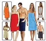 Damen und Herren Saunakilt, BIO-Baumwolle,NEUHEIT: Schlingenfeste Qualität, kein Fädenziehen mehr Grösse Damen Blau S bis L