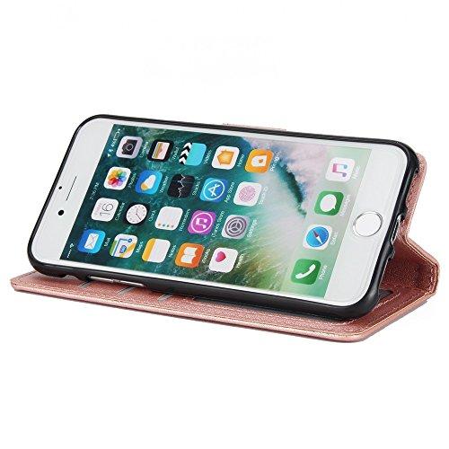 Classic Premiu PU Ledertasche, Horizontale Flip Stand Case Cover mit Cash & Card Slots & Lanyard & Soft TPU Interio Rückseite für iPhone 7 ( Color : Wine ) Rosegold