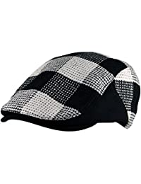 47bc714339ef7 Itzu Mens Wool Mix Lumberjack Check Flat Cap Hat Curved Gatsby Golf Black  White