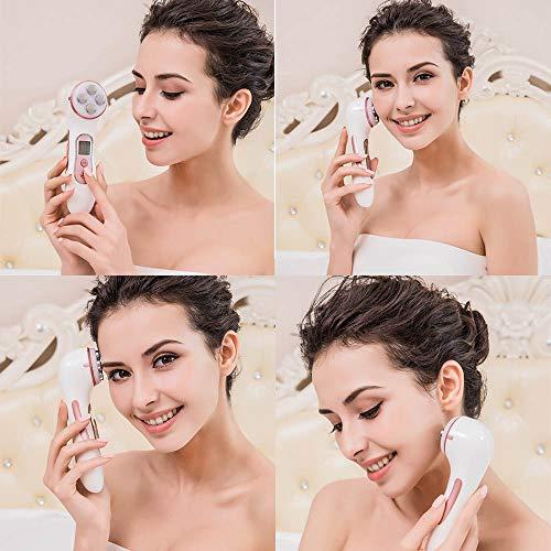 Facial Aparato Radiofrecuencia,  5 Modos de Terapia de luz LED,  Antiarrugas,  Anti- envejecimiento,  Rejuvenecimiento,  Limpieza Profunda,  Cuidado Facial,  con Gel Conductor MiSMON 100ml