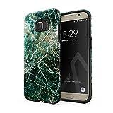 BURGA Hülle Kompatibel mit Samsung Galaxy S6 Edge Grün Smaragd Juwel Marmor Muster Green Marble Robustes Stoßfestes Doppellagiges Hardcase + Silikon Handyhülle Case Cover