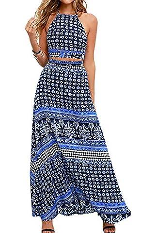 Minetom Femme Robe de Bohême Plage Casual Dos nu Maxi Longue Dress Sans Manche Floral Imprimé Robe 2 Pièces Top avec Jupe Longue Bleu FR 34
