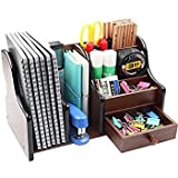 #7: LUKZER Multi-Functional Wooden Desk Organiser, Pen stand / Pencil stand, Stationery Stand for Office and Students use (7 Compartments) (21 Cm Broad)