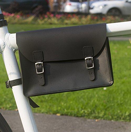 Fahrrad Rahmen Tasche handgefertigt Natural Leder Tan 21,8x 16,5x 5,1cm (Rahmentasche Leder)