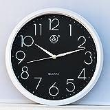 FortuneVin Wanduhr Bad Wanduhr mit Wanduhren lautlosem Uhrwerk Kein nerviges Ticken Beispiel Mute Wand Umlauf ursprünglichen Tabelle, 31 Cmwhite, Schwarzer Tastatur