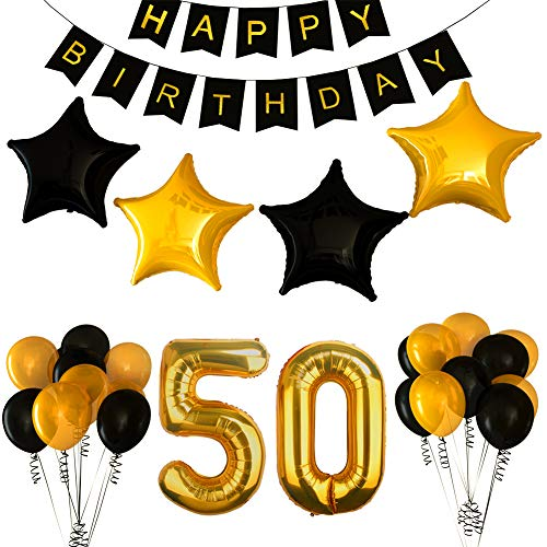 50th Birthday Party Decorations Kit with Happy Birthday Banner