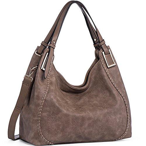 JOYSON Handtasche Damen Umhängetasche Schultertasche Crossbody PU Leder Hobo Tasche Damen Handtasche für Frauen (L39cm * W16cm * H29cm) Dunkelgrau Dunkelgrau