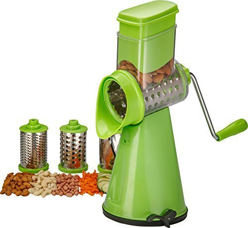 FMGR Swift Rotary Drum Grater Vegetable Cheese Cutter Slicer Shredder Grinder With 3 Interchanging Ultra Sharp Cylinders Stainless Steel Blades