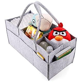 Anladia Tragbare Baby-Organizer-Tasche mit 5 Fächern, für Windeln, Flasche, Wickeltasche, mit Trennwand, Aufbewahrungsbox, Handtasche, Grau