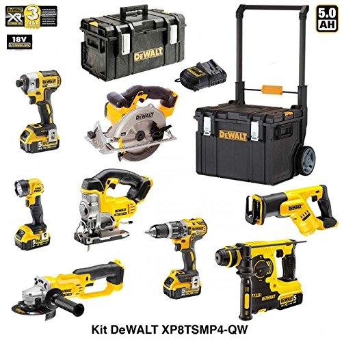 Preisvergleich Produktbild DEWALT Kit XP8TSMP4-QW 18V (DCF887 + DCL040 + DCG412 + DCD796 + DCH253 + DCS331 + DCS391 + DCS387 + 4 X 5,0 Ah + DCB115 + DS 300 + DS450 DWST1-75668)