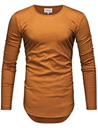 04a24ef9f730 Crone Herren Langarm Shirt Longsleeve Slim Fit T-Shirt Leicht Oversize  Basic Sweatshirt in vielen