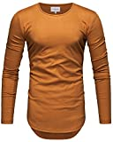 Crone Herren Langarm Shirt Longsleeve Slim Fit T-Shirt Leicht Oversize Basic Sweatshirt in vielen Farben (XL, Indian Yellow)