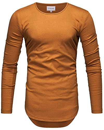 Crone Herren Langarm Shirt Longsleeve Slim Fit T-Shirt Leicht Oversize Basic Sweatshirt in Vielen Farben (XXL, Indian Yellow)