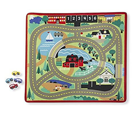 Melissa & Doug Round the Town Road Rug and Car Activity Play Set With 4 Wooden Cars (99 x 91.5 cm)