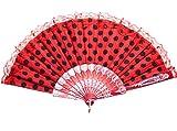 La Senorita Flamenco Fächer, Handfächer, Tanzfächer - Rot Schwarz mit Spitze