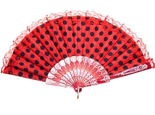 La Señorita Abanico Flamenco rojo con puntos negro vestido Español