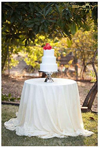 ShinyBeauty Weiß Pailletten Tischdecke 300cm Round Great Gatsby Dekorationen Tischwäsche,120-Inch (Great Gatsby-party Dekorationen)