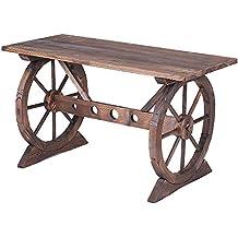 ikayaa mesa de madera forma de rueda de vagn mesa para decoracin para jardn planta
