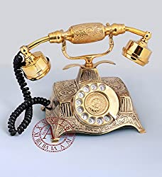 Akhandstore Rotary Dial Table Brass Retro Telephone Square Hand Carved Old Landline Telephone (WORKING ONLY BSNL and MTNL)