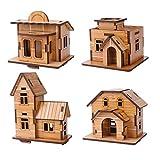 ZOSEN® Puzzle 3D in legno - modello Mini casa - giocattoli educativi Puzzle 3D regalo per i bambini (4 pezzi)