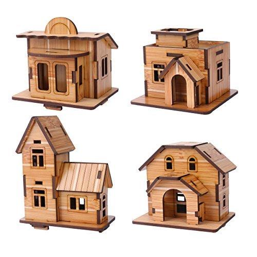 ZOSEN 3D Holzpuzzle - Minihaus Modell - Lernspielzeug 3D Puzzle Geschenk für Kinder (4 Stück)