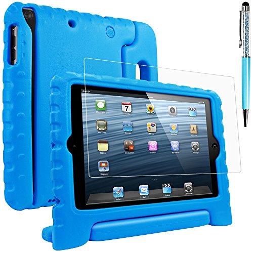 AFUNTA Schutzhülle für iPad Mini 1 2 3 mit Displayschutzfolie und Stylus, Shockproof Cabrio Griffständer Eva Case, PET Kunststoffabdeckung und Touch Pen für Tablet Apple iPad Mini – Blau (Mini 1 Ipad Fall)