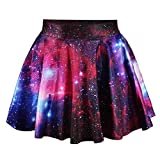 Fashion Damen Sommerkleid Retro Digital Print Vintage Kleid Minikleid Minidress Minirock Rock Skirt (Rote Galaxie)