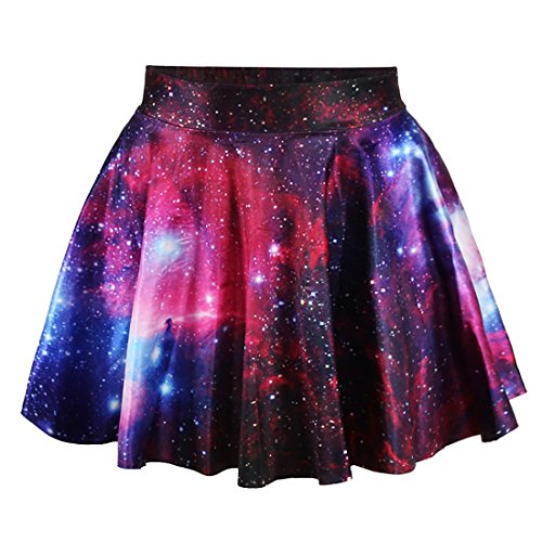 Fashion Damen Sommerkleid Retro Digital Print Vintage Kleid Minikleid Minidress Minirock Rock Skirt (Rote Galaxie) (Linie Rock Muster)