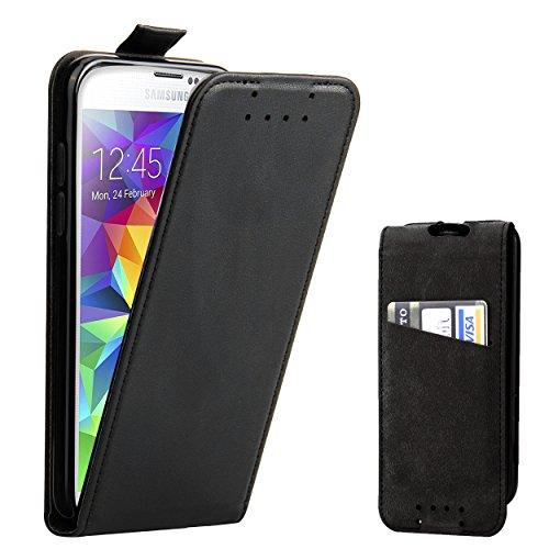 Galleria fotografica Custodia Galaxy S5 - SUPAD® Ultra sottile Custodia Flip Case In Pelle per Samsung Galaxy S5 (Nero)