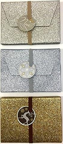 3 Glitter Gift Card Boxes Christmas Festive Gift Present Vouchers Jewellery Money Xmas Seasons Greetings