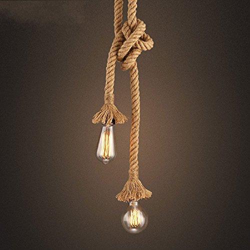 Miffen Double Head Vintage Braided Seil Hanging Pendelleuchte Retro Industrial Loft Deckenlampe Metallhalter Edison Wandleuchte Kronleuchter Lampe Befestigung mit E27 Sockets (Tesla Braun Schuhe)