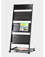 Lepose 4 Tray Magazine Stand and Newspaper Stand/Catalog, Brochure Stand (Straight)