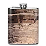 personalized flask Sand Stone Buildings Retro Portable 304 Stainless Steel Leak-Proof Alcohol Whiskey Liquor Wine 7OZ Pot Hip Flask Travel Camping Flagon For Man Woman Flask Great Little Gift