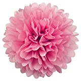 Simplydeko Pompom Pink - Pom Pom Deko zur Hochzeit oder Party - Handgefertigter Seidenpapier Pompon (Pink, 40 cm)