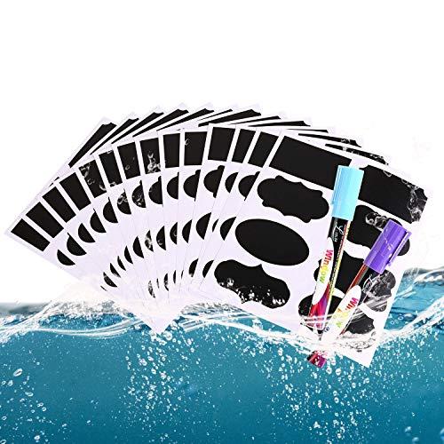 Afufu Tafel Aufkleber 112 Stück Wiederverwendbar Wasserdicht Tafel Sticker mit Kreidemarker für Gläser, Flaschen Speisekammer, Craft Rooms und Schränke -